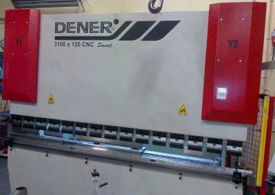 Dener 3100X120 CNC styrd kantpress. 120 ton presskraft och bocklängd upp till 3000 mm.
